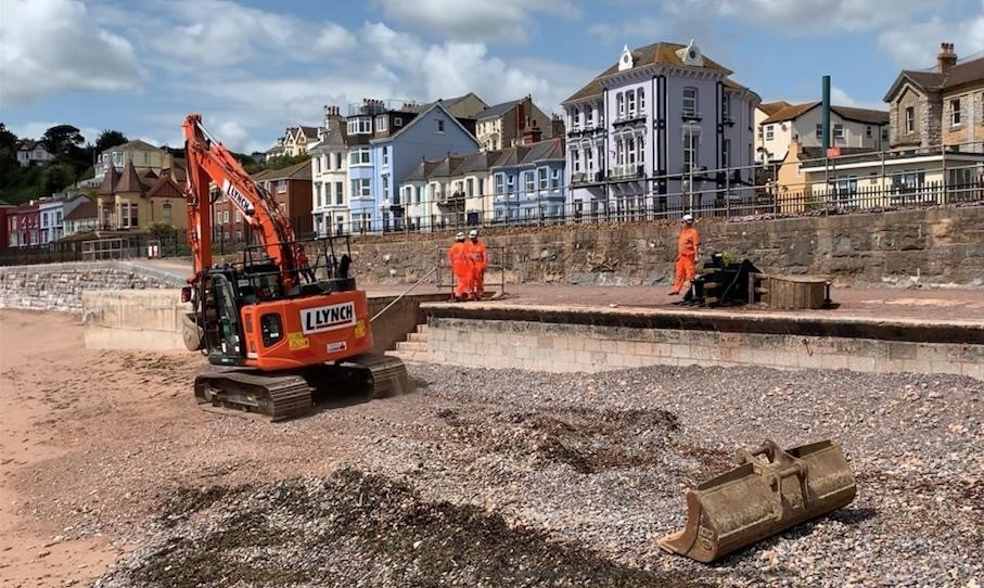 Work set to restart on new sea wall which will help protect vital rail artery to the south west for next 100 years: Dawlish sea wall construction June 2019