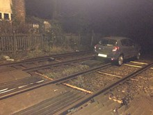 Yapton - driver ends up on railway: Yapton - driver ends up on railway, a few days before Christmas 2016