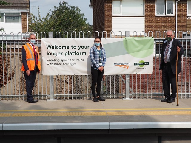 Longer platforms and improved ticket gates in £10 million boost for passengers to support the Gatwick Airport station upgrade: Sir Peter Bottomley, Rachel Halliday, Southern Station Manager and Patrick Gallagher, Senior Programme Manager at Network Rail