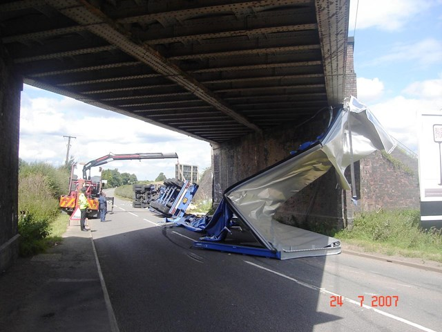 Aftermath of a bridge strike at Shenstone near Lichfield: Aftermath of a bridge strike at Shenstone near Lichfield