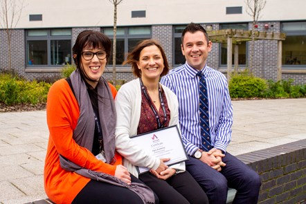 Elgin Academy retains autism accreditation: Katie Morton (Principal Teacher, Support for Learning), Lizzy Toon (Depute Head Teacher), Kyle Scott (Head Teacher)