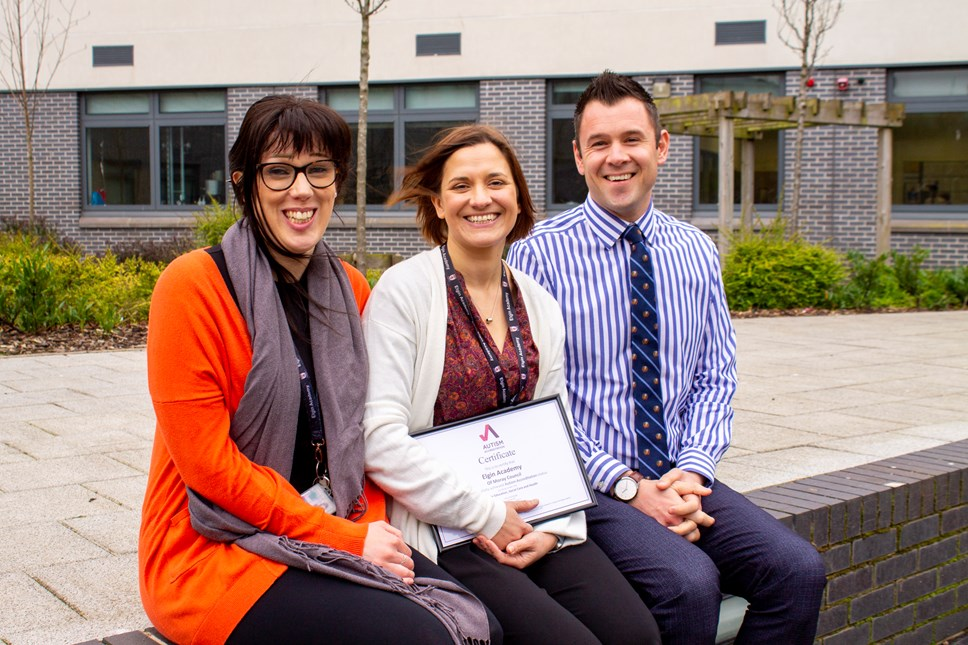 Elgin Academy retains autism accreditation: Katie Morton (Principal Teacher, Support for Learning), Lizzy Toon (Depute Head Teacher), Kyle Scott (Head Teacher)