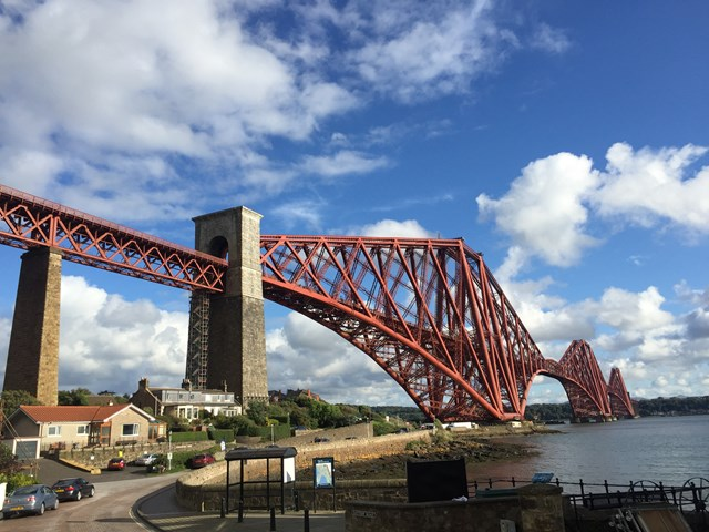 £7.5m renovation of North Queensferry approach span to the Forth Bridge gets underway: Forth Bridge - day