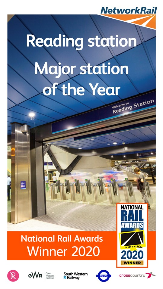 Reading station has been named as major station of the year at the 2020 National Rail Awards: Reading station awarded major station of the year
