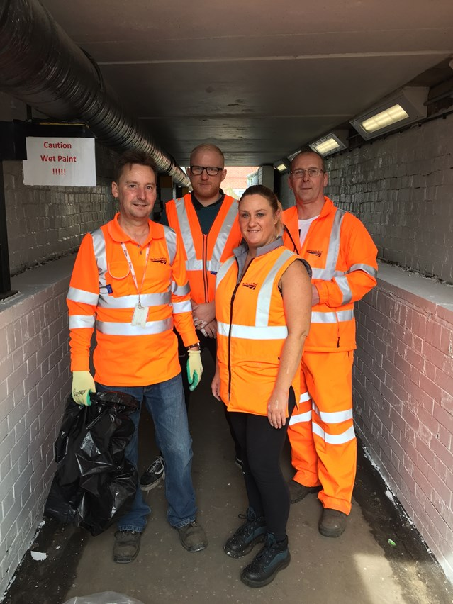 Smithy Bridge underpass cleaned and painted during Network Rail volunteer day: Andrew Griffin, Dan Coles, Sarah McArdle and Roy Greenhalgh at the improved Smithy Bridge underpass.