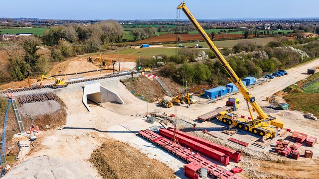 Time-lapse shows Bicester railway underpasses completed this Easter: Bicester bank holiday work - worksite