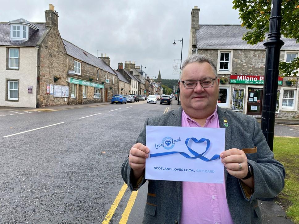 Cllr Graham Leadbitter Moray Loves Local Gift Card launch