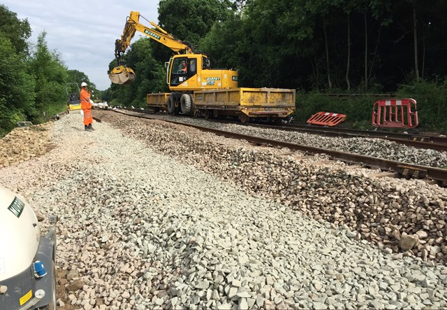 A Road Rail Vehicle working on the site of the landslip at Middlewood-2