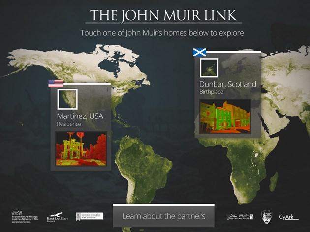 Transatlantic project celebrates John Muir: John Muir app - opening page