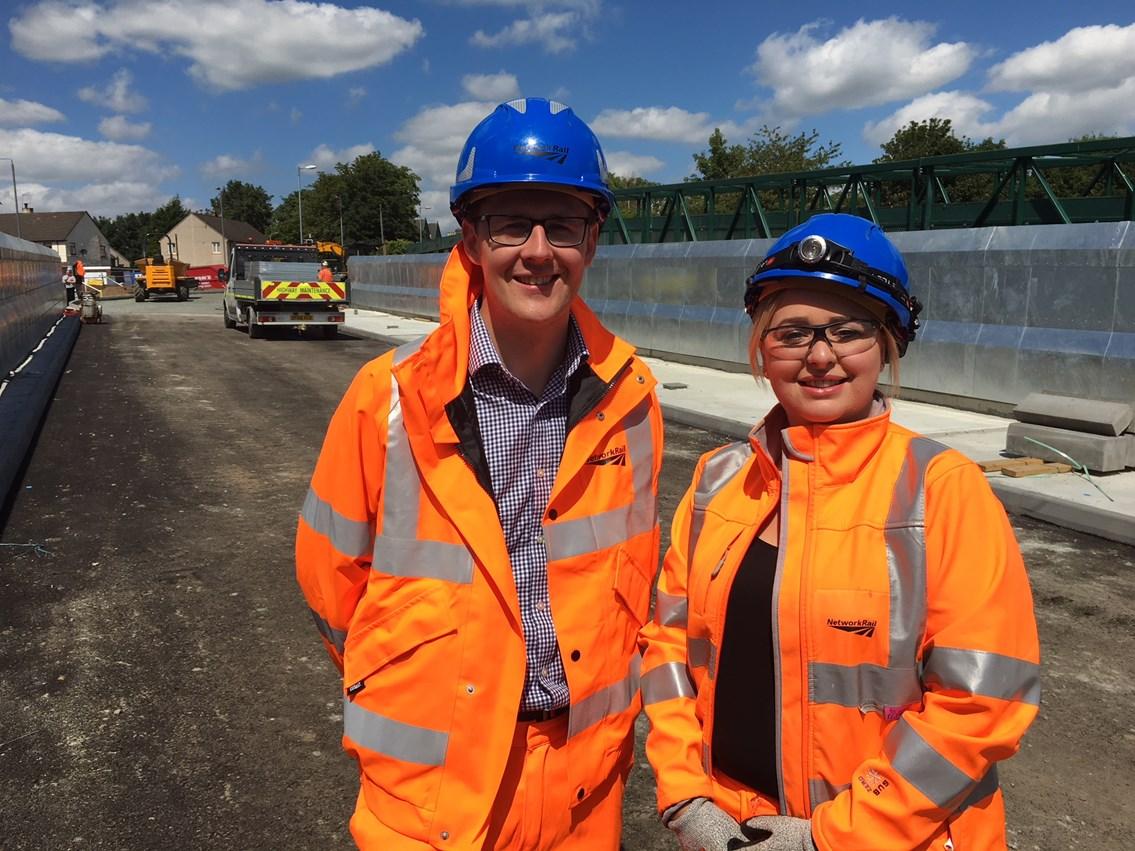 David Linden MP visits Muirhead Road bridge works to view progress: David Linden MP and Laura Craig Muirhead Road Project Manager