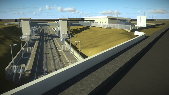 Computer image of proposed new Winslow station looking West from Buckingham Road