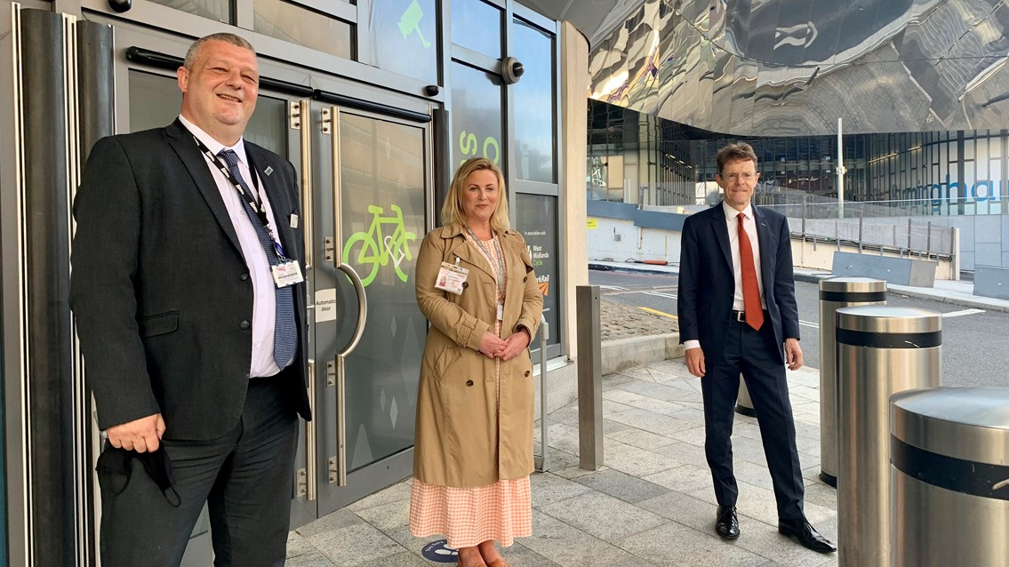 On your bike! Secure 'cycle pod' opens at Birmingham New Street: L-R Craig Stenning Birmingham New Street station manager, Emma Crowton Transport for the West Midlands, Andy Street Mayor of the West Midlands