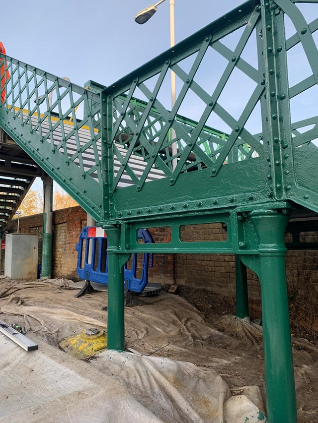 Painting the staircase at Snodland station