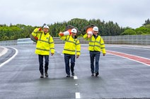 Dalry Bypass opens: L to R: Gavin Dyet (Transport Scotland), Cabinet Secretary, Michael Matheson, and Brian Snow (Farrans Roadbridge)