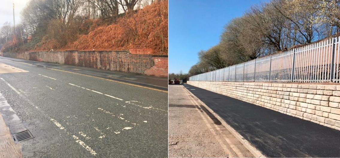 Stalybridge wall - before and after (1)