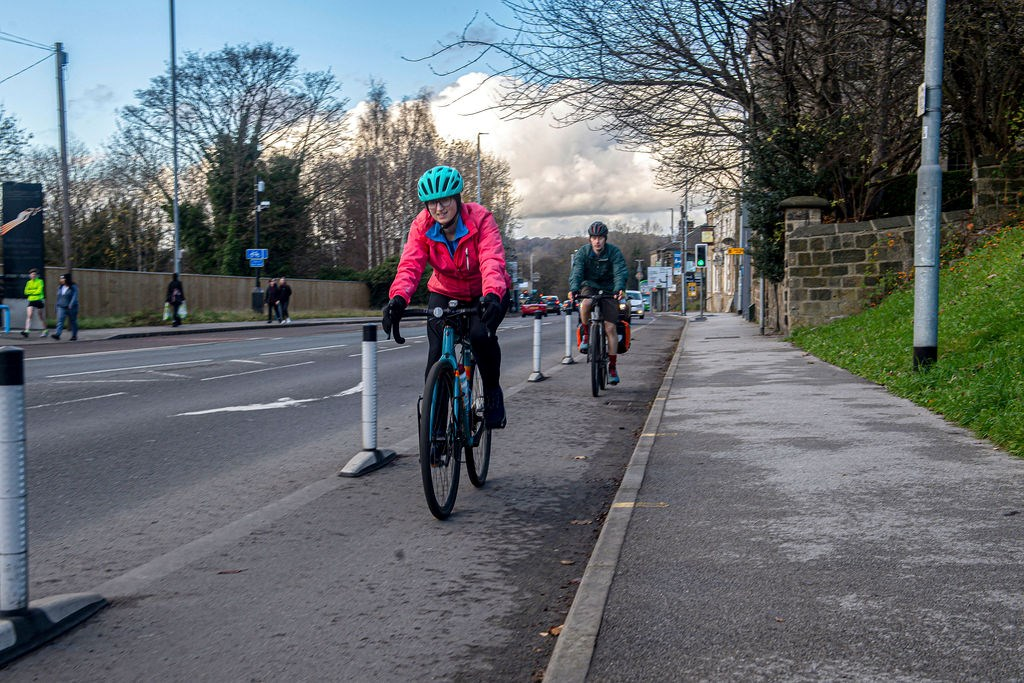 Wand Orca's on Kirkstall Road: Wand Orca's are used to provide additional safety from other road users on 'pop-up' cycle lanes.