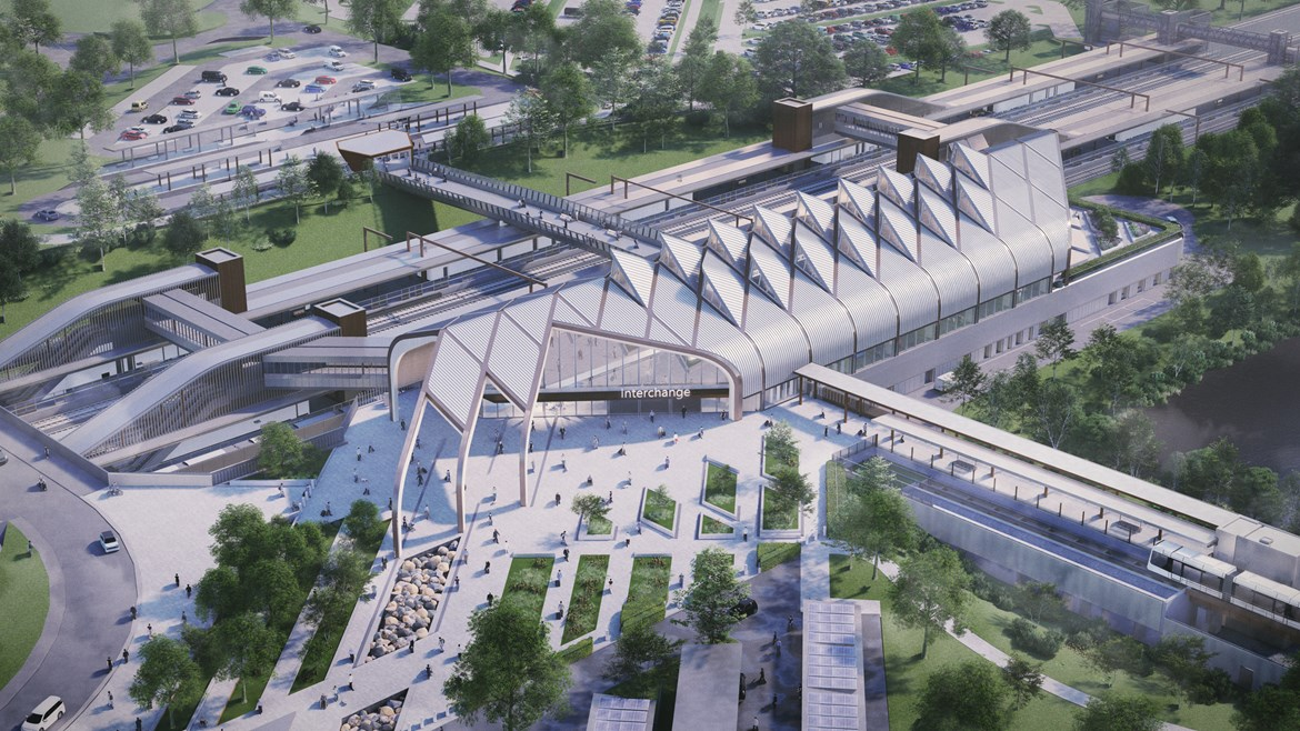 HS2's eco-friendly Interchange station gains planning approval: Interchange station Aerial April 2020