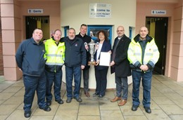 David Abbott, Eric Johnson, Jan Totney, Ross Totney, Councillor Emma Stokes, Phillip Childs (Wychavon District Council) and Gerald Roberts with the trophy outside the award-winning toilet.: David Abbott, Eric Johnson, Jan Totney, Ross Totney, Councillor Emma Stokes, Phillip Childs (Wychavon District Council) and Gerald Roberts with the trophy outside the award-winning toilet.