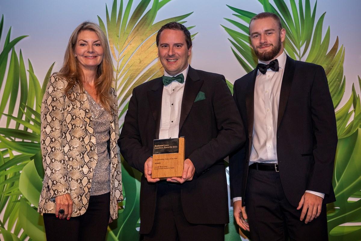 Avanti West Coast BGLA2021 Winner Sustainability Team: (L - R): Jo Caulfield (BusinessGreen Leaders Awards 2021 Host), Gareth Williams (Head of Sustainability at Avanti West Coast), Ryan Hans (Environment Executive at Avanti West Coast)