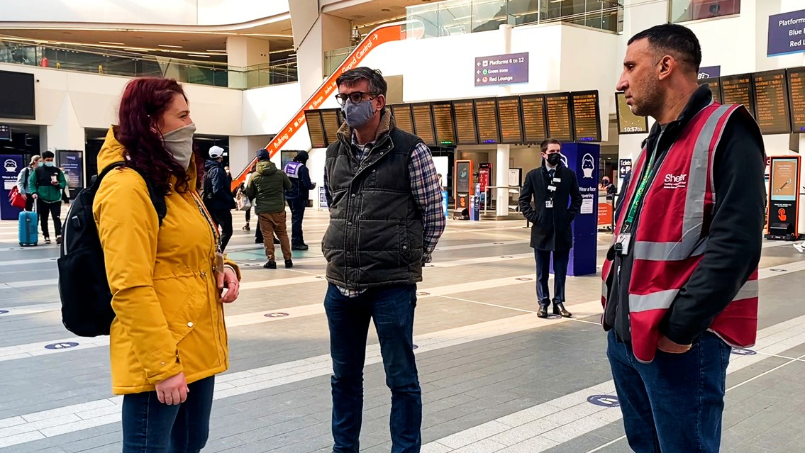 Pioneering pilot helps Birmingham street homeless into housing: Shelter Outreach visit Birmingham New Street (L-R Kia Morris Shelter engagement worker, Martin Frobisher Network Rail, Shelter volunteer)