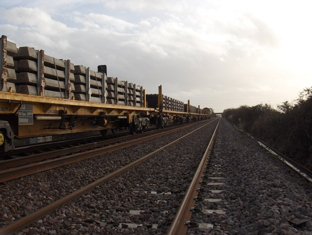 Highbridge & Burnham - Taunton Track Renewals: Network Rail's High Output Track Relaying Train in action near Highbridge