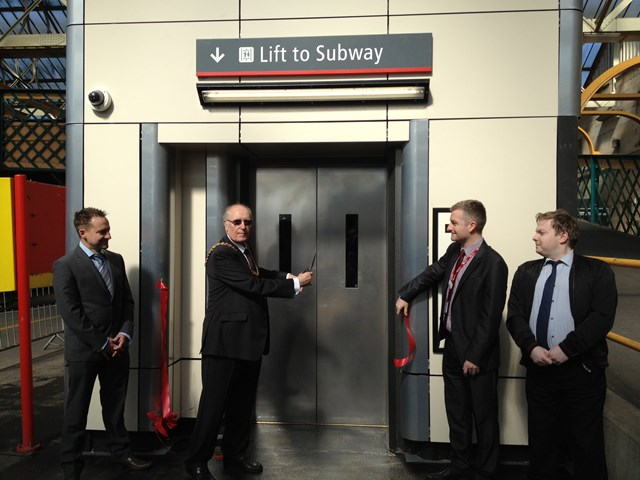 New lifts open at Carlisle station: Darren Miller, Network Rail, Councillor Ray Bloxham, Major of Carlisle, Mark Green, Virgin Trains and David Gale of Trailblazers formally open the new facilities at Carlisle station