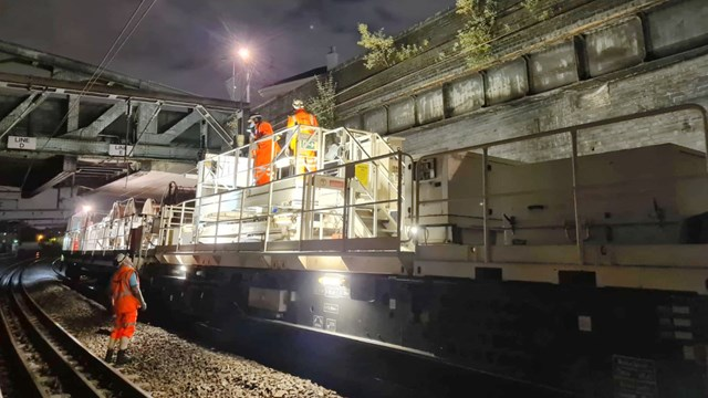 Overhead wires replaced at Euston as part of railway weather-proofing work: Camden OLE  work