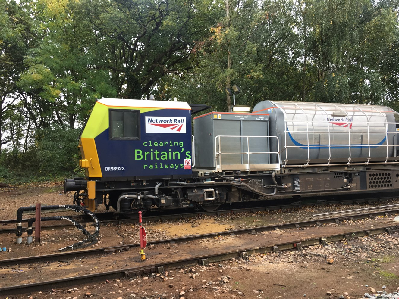 "HIGH POWERED LEAF BUSTING TRAINS TRAVEL ""TWICE ROUND THE WORLD"" TO KEEP SOUTH WESTERN RAILWAY PASSENGERS MOVING: Leaf busting train"