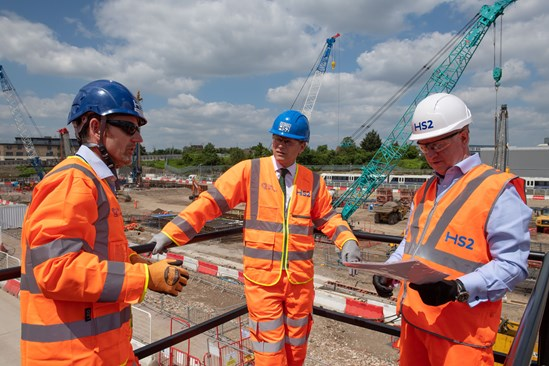 Old Oak Common station start of permanent construction works: Transport Secretary Grant Shapps meets Mark Thurston and Matthew Botelle before signaling the start of main construction work on HS2's Old Oak Common station