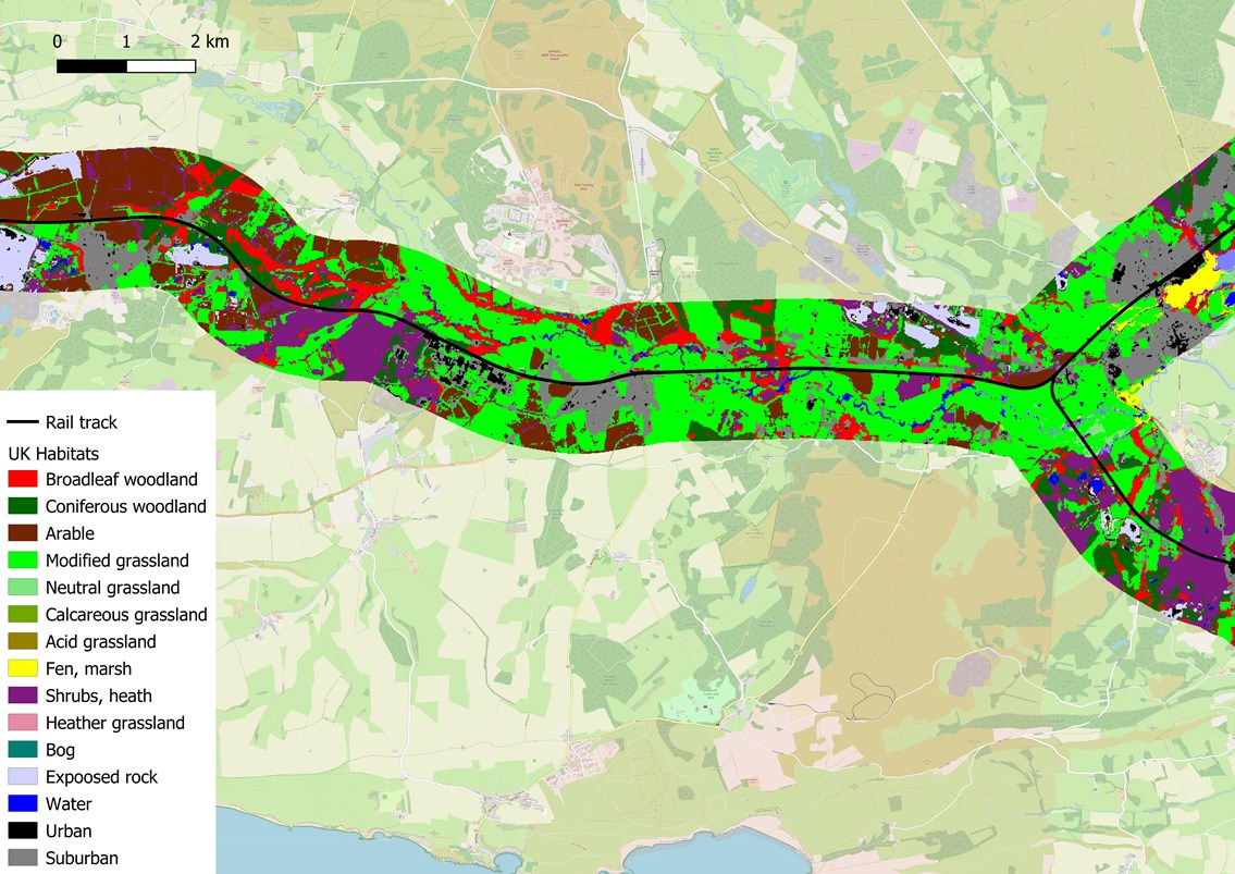 Latest technology used to improve thousands of miles of lineside biodiversity: Habitat map