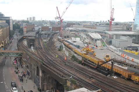 The very first ballast is delivered and laid on the approach to the new Borough Market viaduct