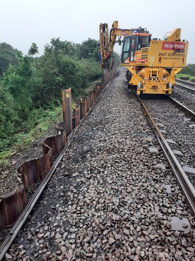 Repair work taking place to stabilise embankment