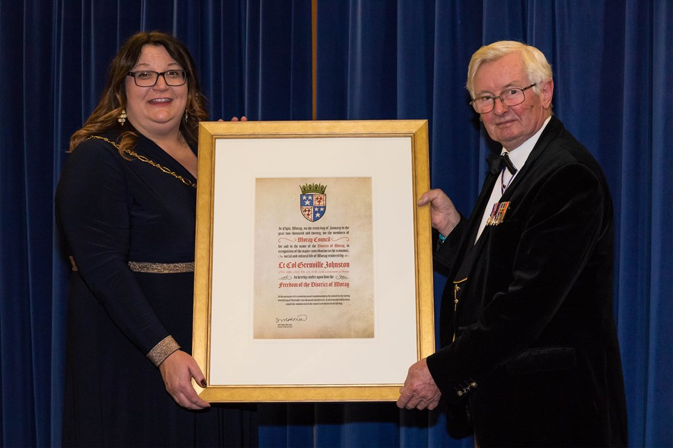Lord-Lieutenant receives the Freedom of Moray: Convener of Moray Council, Cllr Shona Morrison, and Lord-Lieutenant Grenville Johnston. Pic courtesy of RAF Lossiemouth.