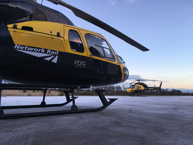 Network Rail Air Operations Helicopters on frosty morning January 2021