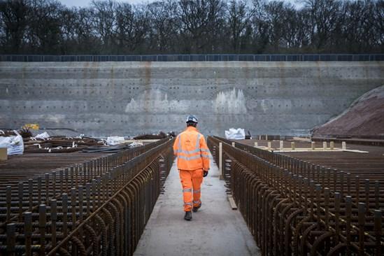 Long Itchington Wood tunnel portal face: Credit: HS2 Ltd