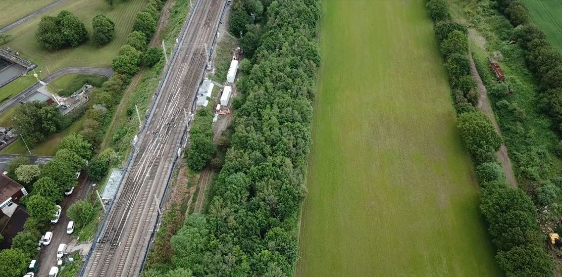 Just over one week until 16-day closure of major junction on the West Coast main line: Aerial view of Acton Grange junction