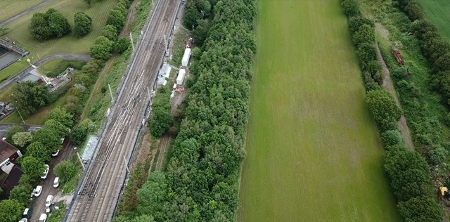 Aerial view of Acton Grange junction