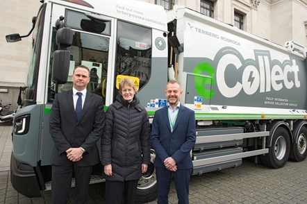 Tony Ralph, Director of Public Realm (pictured left), Cllr Rowena Champion, Executive Member for Environment and Transport (centre), and Keith Townsend, Corporate Director for Environment and Regeneration (right) pose with the vehicle