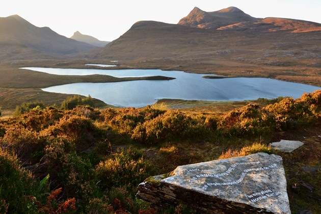 Visitors urged to discover the unique landscape of the North West Highlands: Poetry carved on to rocks at Knockan Crag National Nature Reserve ©Lorne Gill SNH