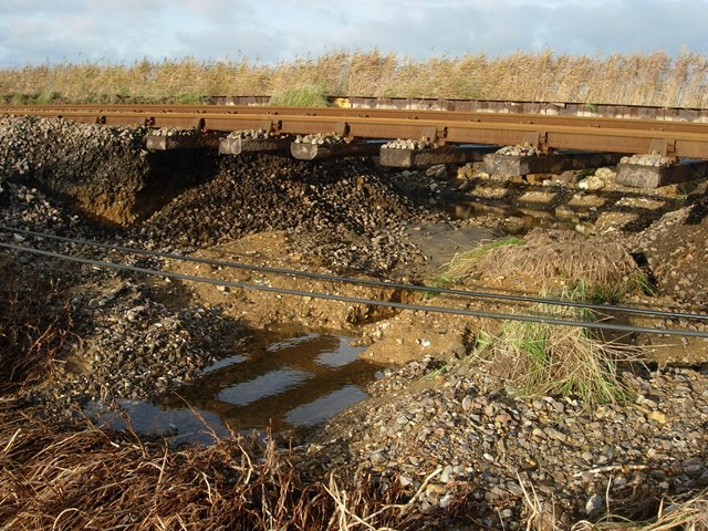 Tracks damaged by flooding in Norfolk (2): Tracks damaged by flooding in Norfolk (2)