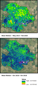 Long term trends in peat surface motion at Flanders Moss NNR. Top image showing 5 years of data at 80m pixel resolution. Bottom showing 2 years of data at 20m pixel resolution. Lines show restoration activities. ©Nottingham University. Contains NatureScot data and basemap data from ©Getmapping Plc Contains OS data ©Crown copyright and database right (2020)