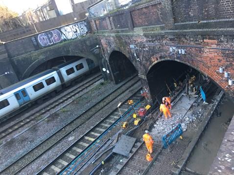 Slab track renewal taking place at Kentish Town, Camden, on 28 December 2017, taken from the viewing platform