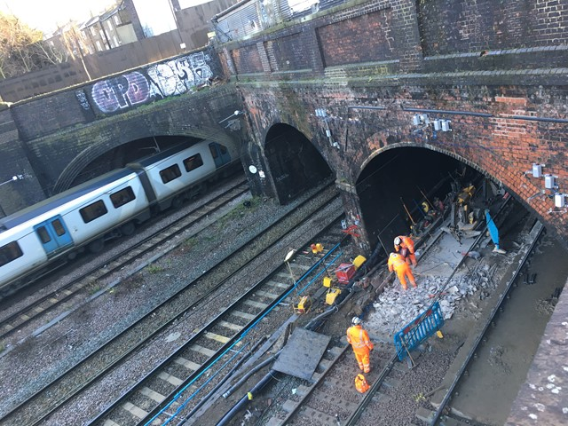 Slab track renewal taking place at Kentish Town, Camden, on 28 December 2017, taken from the viewing platform
