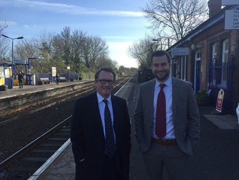 MP Chris White with Network Rail senior sponsor Simon Clifford at Warwick station
