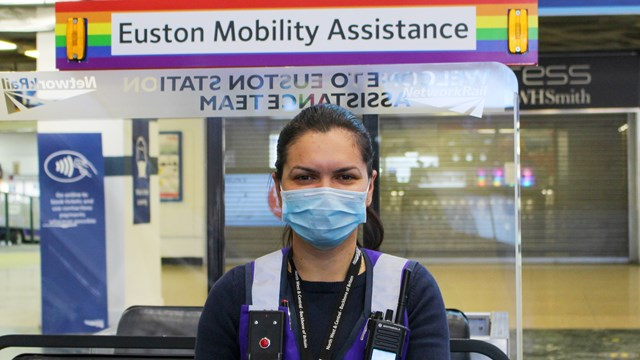 Face coverings a must for train passengers: Customer service assistant Denisa wearing a face covering at London Euston-2