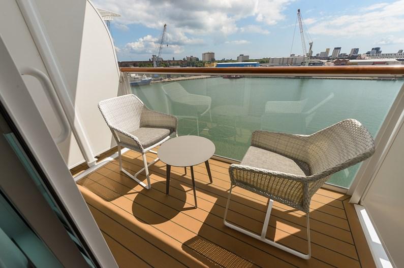 Saga Cruises' Spirit of Adventure - Standard Cabin balcony (every cabin has their own)