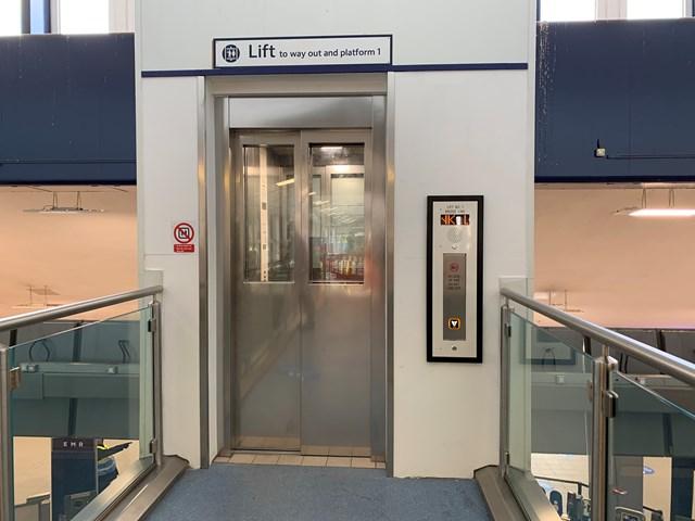 Refurbished lifts at main entrance at Derby station