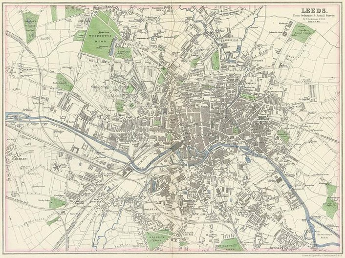 A Garden Through Time: A 19th century ordinance survey map of Leeds which shows the botanical gardens in the top left hand corner.