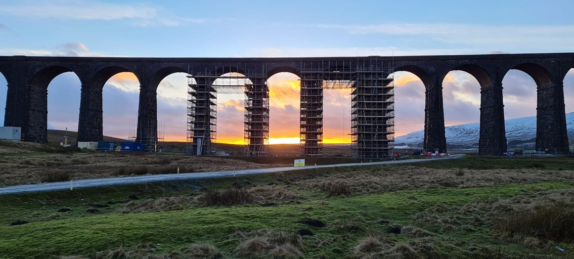 Ribblehead viaduct sunset Jan 2021