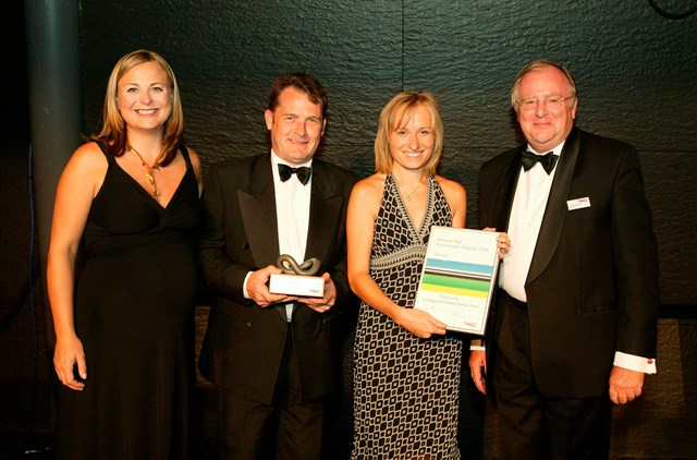 Special Award for Continuing Environmental Excellence winner - FirstGroup: Presented by Philippa Forrester and Ian McAllister, Network Rail's Chairman to Willie Mitchell (Safety and Service Manager) and Katerina Robinson (Group Head of Environment). The panel of judges created this award for FirstGroup as a way of recognising the company's continued contribution and commitment to both environmental and corporate responsibility issues.  FirstGroup has embedded strong environmental practices throughout its operations, which have shown significant dividends